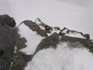 前穂北尾根Ⅲ峰のクライミング